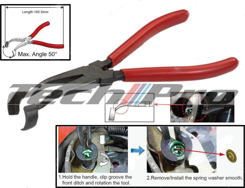 BS-010 - Brake Shoes Hold Down Spring Pliers Off-Set