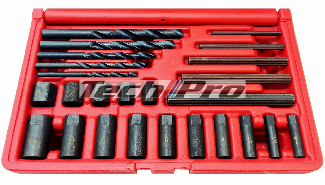 GS-048 Screw / Nut Extractor Set Actor / Drill - 25 pcs